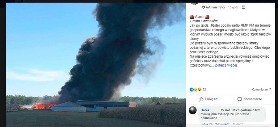 Pożar słomy w Łagiewnikach 7 sierpnia 2018