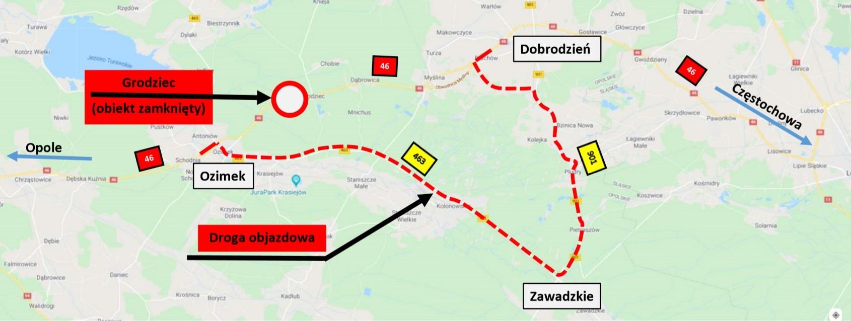 zdjęcie mapy z zaznaczoną mapą objazdu